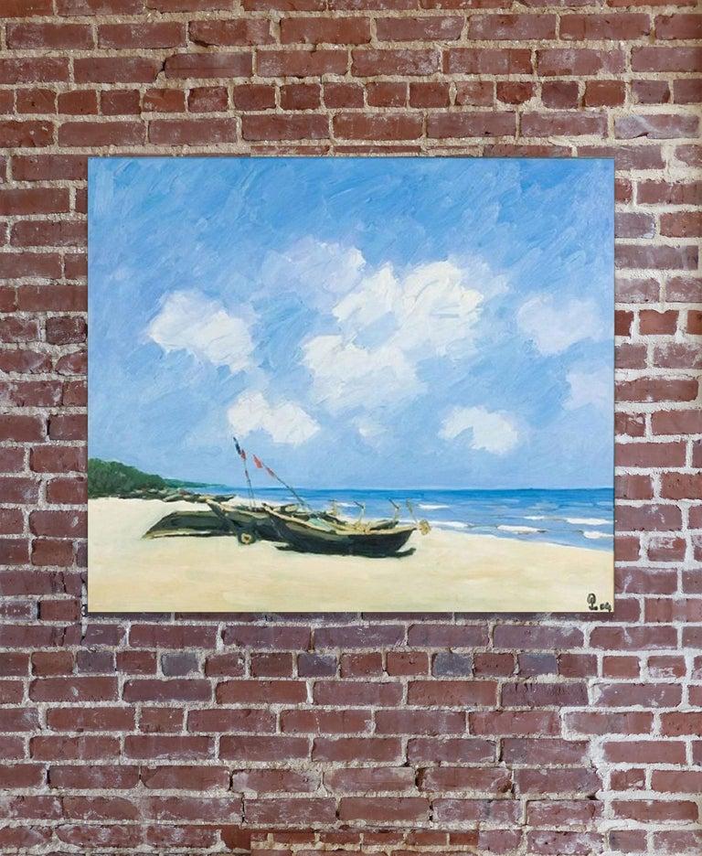 Sav Jon Beach, Pham Luan Large Impressionist Oil on Canvas Seascape Painting For Sale 2