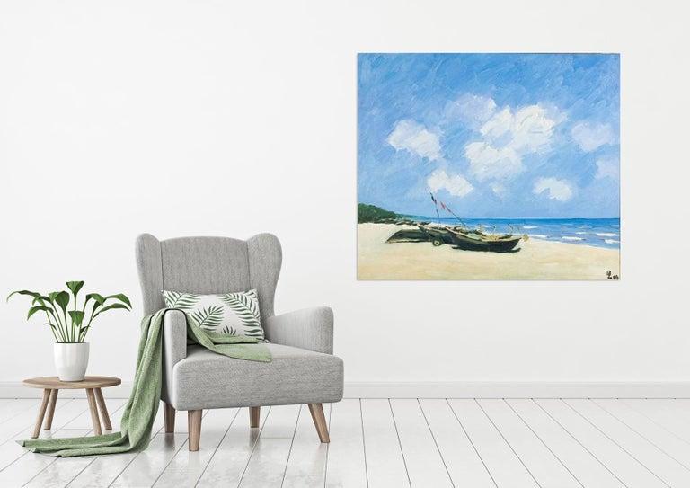 Sav Jon Beach, Pham Luan Large Impressionist Oil on Canvas Seascape Painting For Sale 1
