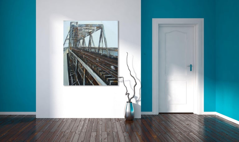 'Long Biên Bridge 7' is a large contemporary cityscape oil on canvas painting created by Vietnamese artist Le Quy Tong in 2012. Featuring a grey, brown and soft blue palette, the painting focuses our attention on the Long Biên bridge, a historic