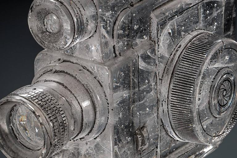 Tripod Camera, Sekonic Glass Sculpture With Antique Tripod - Gray Figurative Sculpture by Josh Hershman