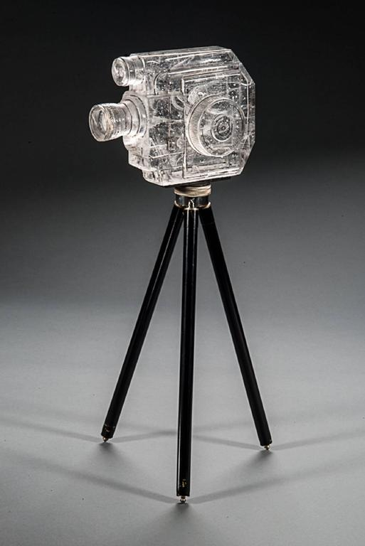 Tripod Camera, Sekonic Glass Sculpture With Antique Tripod For Sale 1