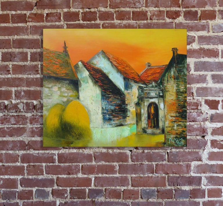 Moon Gate, Dao Hai Phong Architectural Landscape Oil on Canvas Painting For Sale 3