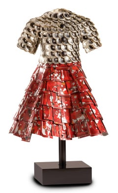 """Whitney"" John Petrey, Red Black Enamel Painted Aluminum License Metal Sculpture"