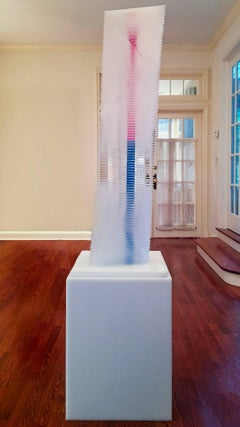 """Vertigo Tower with Base"" J Margulis Kintic Sculpture Lucite White Red Blue"