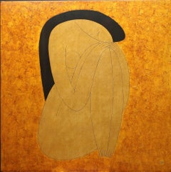 Contemplation 2 by Dinh Hanh, Figurative Female Nude Lacquer on Wood Painting