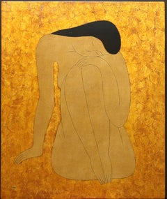 """""""Female at Rest"""" Dinh Hahn Figurative, Female, Lacquer on Wood, Asian, Gold"""