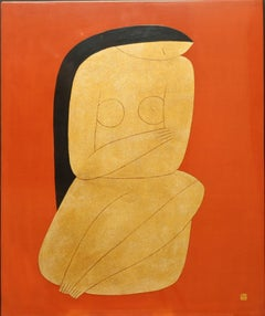 Thinking, Dinh Hanh Lacquer on Wood Painting of a Nude Woman on Red Background