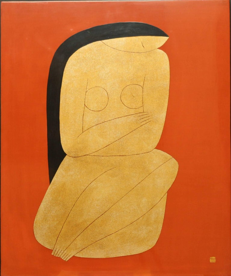 'Thinking' is a medium size framed contemporary lacquer on wood panel painting created by Vietnamese artist Dinh Hanh in 2017. This vertical format features a nude depicted on a red background. The gentle position of the woman, sitting with her legs