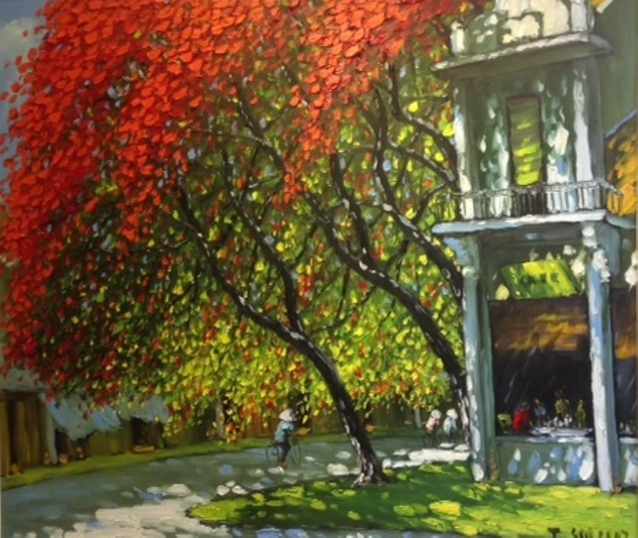 'Summertime Coffee House' Oil on Canvas Impressionist Painting