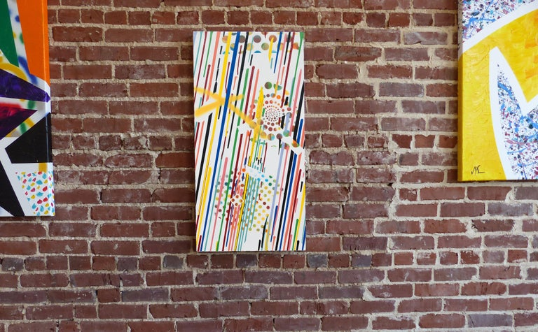 'X Marks the Spot' is an abstract mixed media on canvas painting created by American artist Max Lebven in 2017. Featuring a bright palette made of a spectrum of colors such as yellow, blue, peach, red and aqua revealing Max's admiration for Roy
