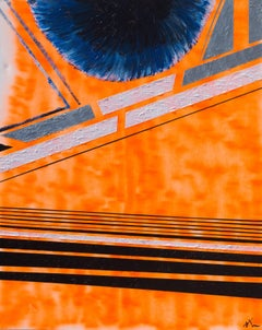 Solar Encounter, Max Lebven Large Geometric Abstract Mixed Media Orange Painting