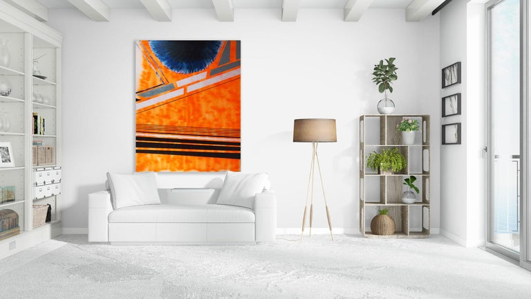 Solar Encounter, Max Lebven Large Geometric Abstract Mixed Media Orange Painting For Sale 1