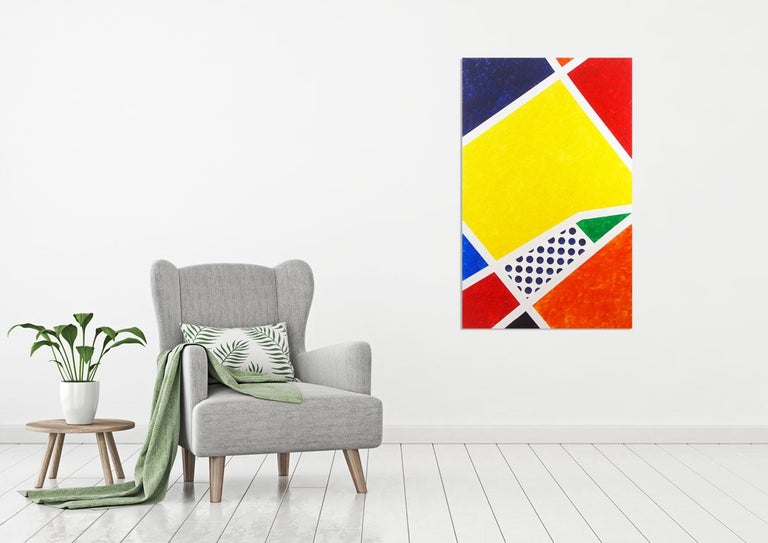 'Blanc' is a large minimalist abstract mixed media on canvas painting created by American artist Max Lebven in 2015. Featuring a bold palette mostly made of primary colors such as yellow, red, blue, orange, black and green, this vertical format