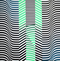 """""""Layers 4"""" Acrylic Painting Geometric Abstract Green Blue Black White"""