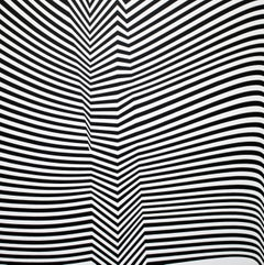 Folding by Cristina Ghetti, Geometric Abstract Black and White Acrylic Painting