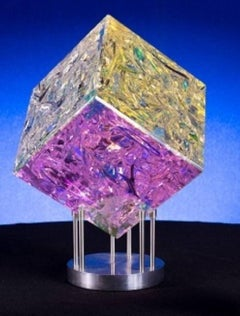 """8 Inch Cube"" , Tom Marosz, Glass, Crystal, Polished, Optic, Dichroic Sculpture"