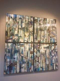 """Water Falling Quadtych"" by Madonna Phillips Mixed Media Glass, Paint on Wood"