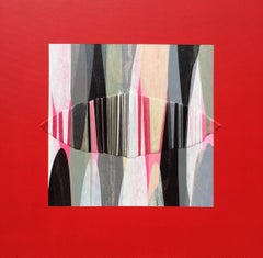 Poemes XXXVII - Red White and Black Original Mixed Media Artwork on Canvas