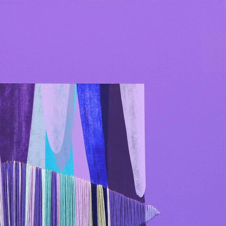 Poemes XLV - Purple Abstract Painting by Raul de la Torre
