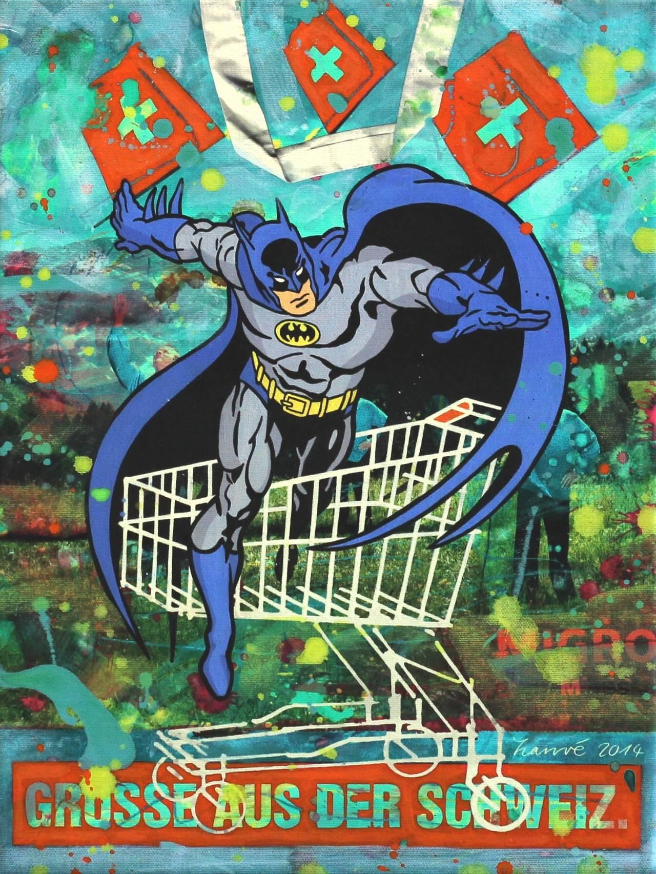 Zanre batman greetings from switzerland painting for sale at zanr figurative painting batman greetings from switzerland m4hsunfo