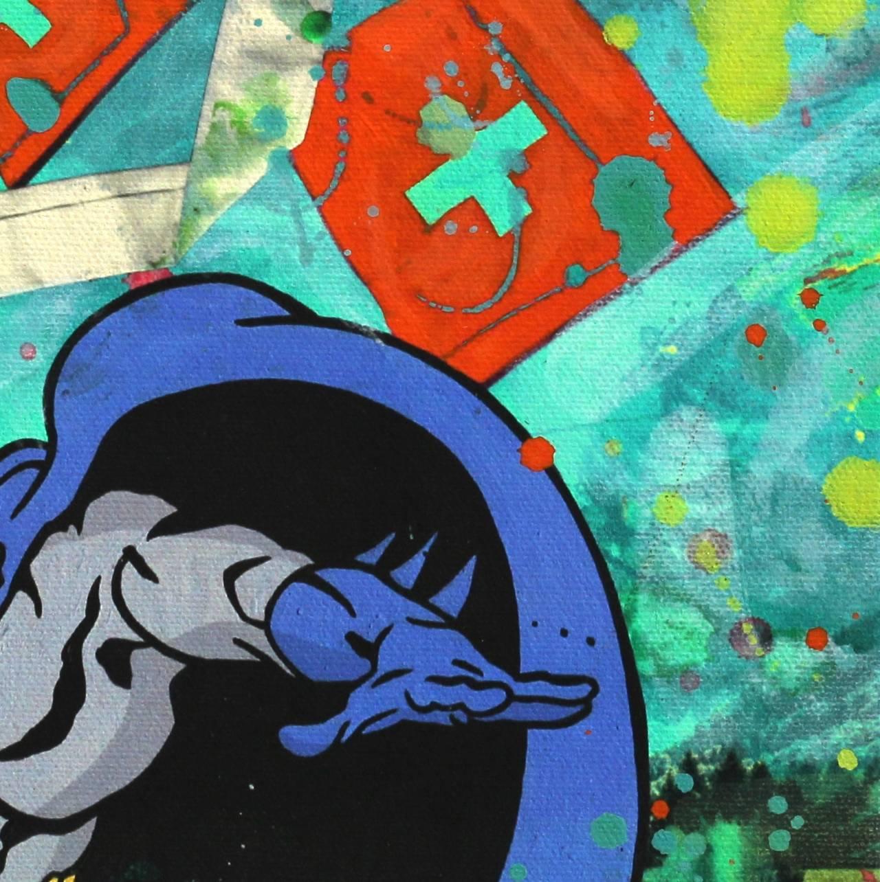 Zanre batman greetings from switzerland painting for sale at batman greetings from switzerland pop art painting by zanr m4hsunfo