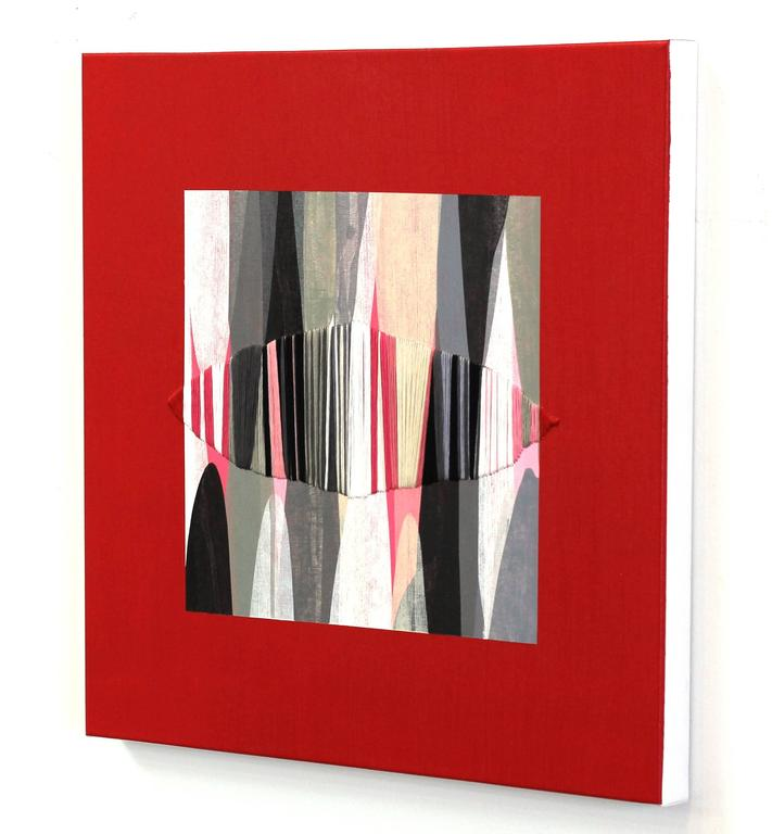 Poemes XXXVII - Red Abstract Painting by Raul de la Torre