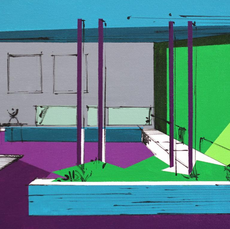 Apartment Set for Untitled Movie No. 1 - Abstract Geometric Painting by Michael Murphy