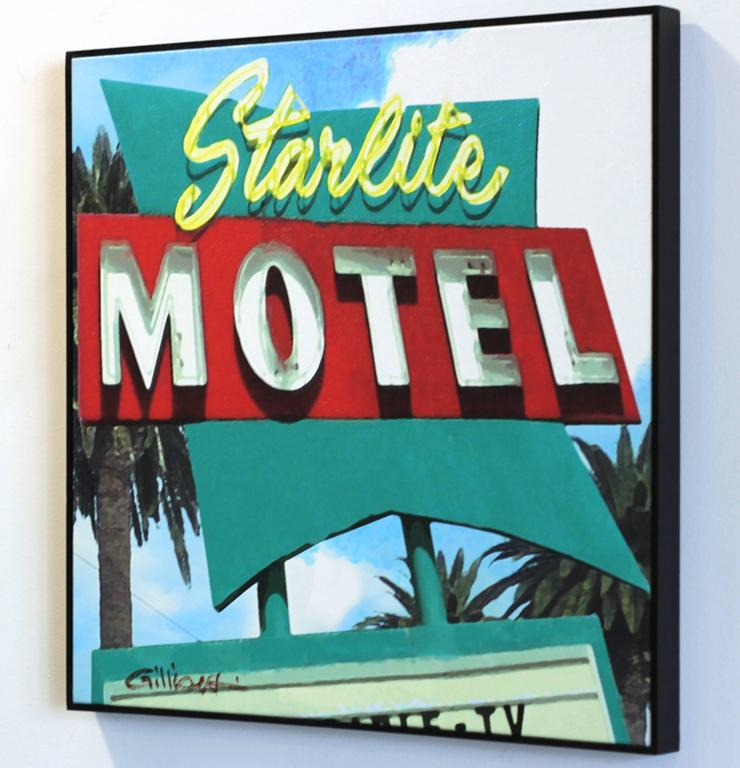 Starlite Motel - Blue Abstract Painting by Michael Giliberti