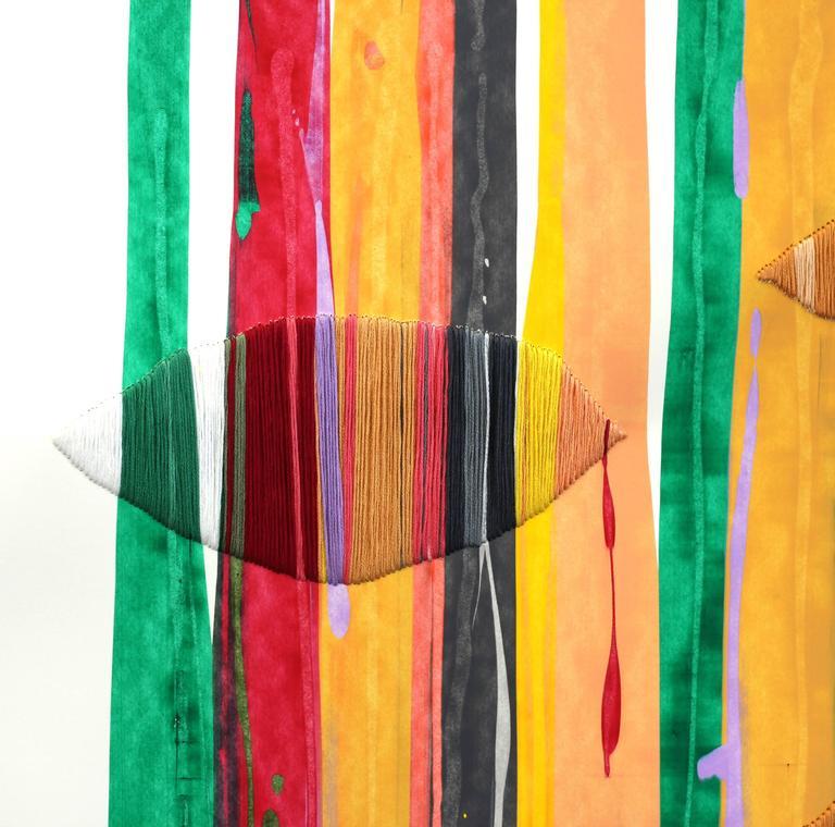 Fils I Colors CCLXXIII  - Orange Abstract Painting by Raul de la Torre