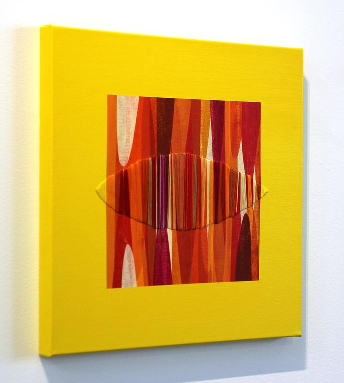 Poemes XLVI - Yellow Abstract Painting by Raul de la Torre