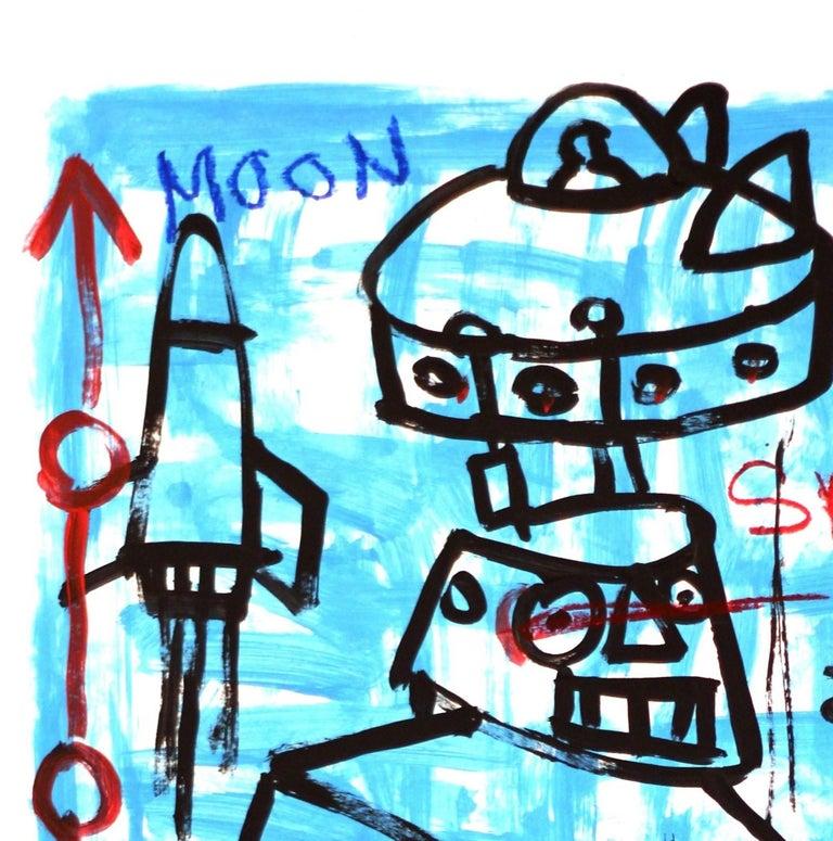 Moon Robot - Blue Figurative Painting by Gary John
