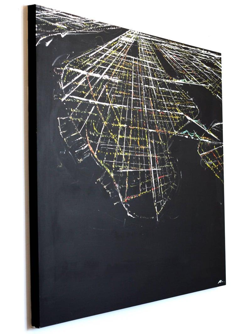 Manhattan Aerial - Black Abstract Painting by Pete Kasprzak