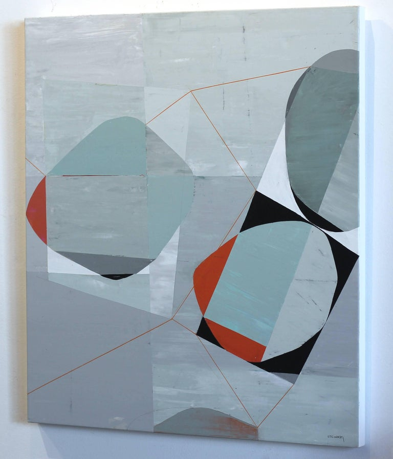Dynamic Tension 3 - Gray Abstract Painting by Heny Steinberg
