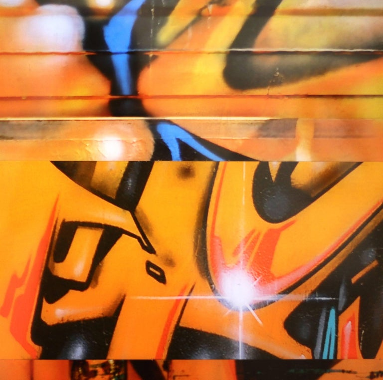 Nicola Katsikis' artworks are creative combinations of her own photographs of street art and graffiti that she discovers in the urban environment around us. Each photograph adds color as well as depth to the artwork, showing the material the