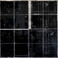 """The Distance between Cities"" - Large-Scale Black Mixed Media Resin Artwork"