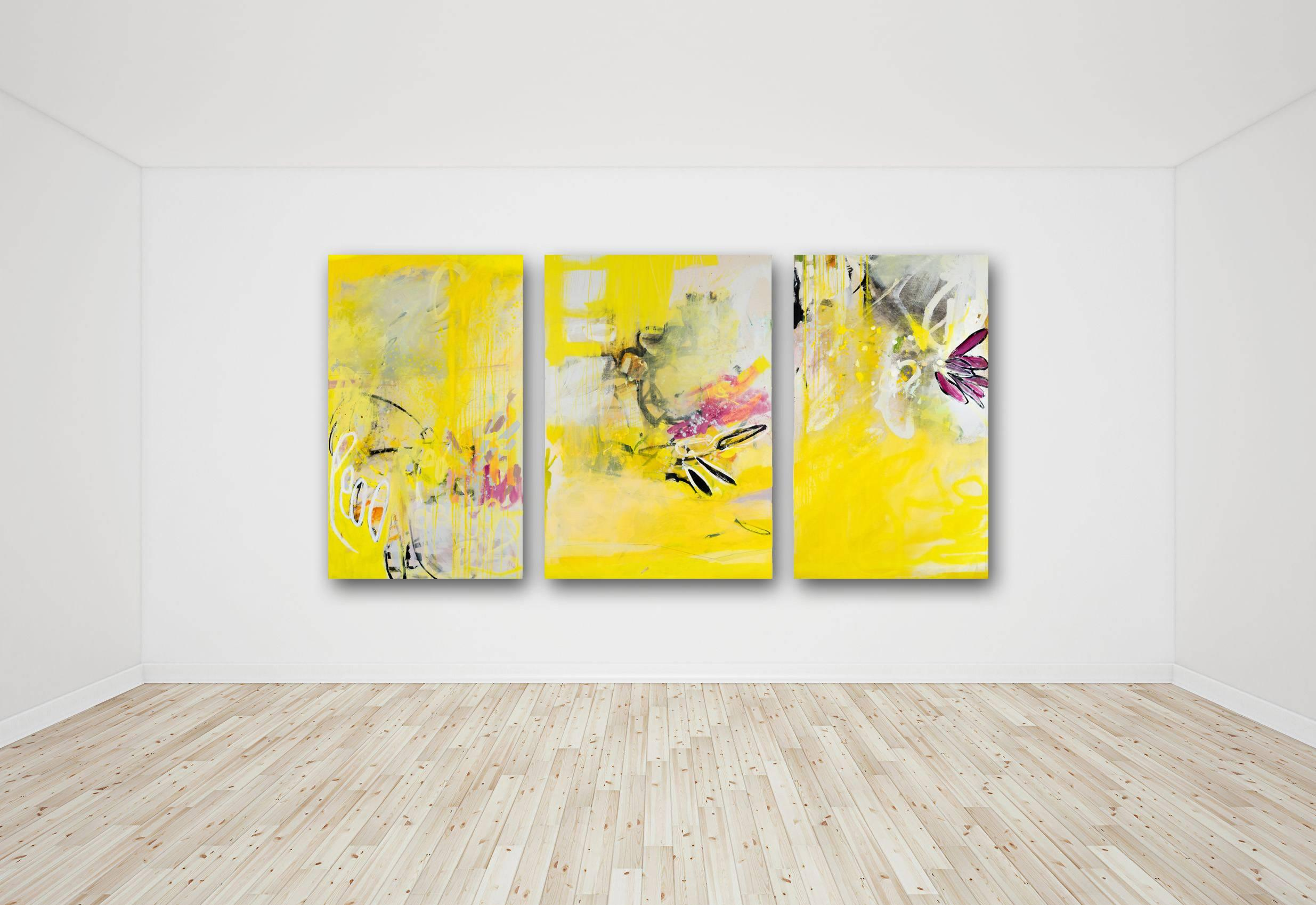Breeze - large scale contemporary abstract mixed media artwork (triptych)