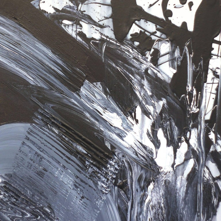 Revolves Around You (Diptych) - Large Scale Black and White Artwork - Abstract Painting by Gail Titus