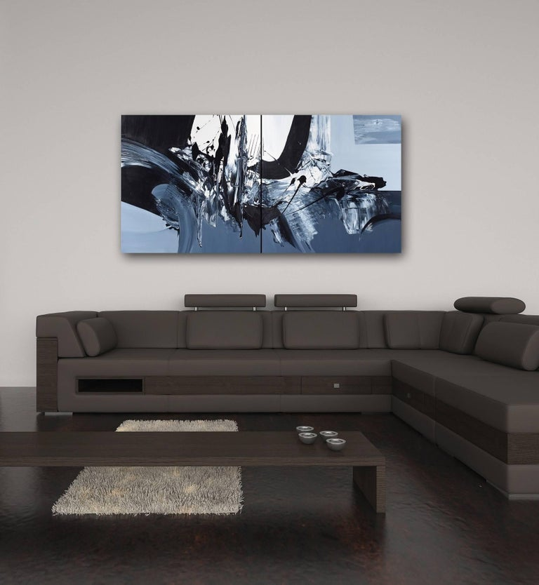 Revolves Around You (Diptych) - Large Scale Black and White Artwork - Painting by Gail Titus