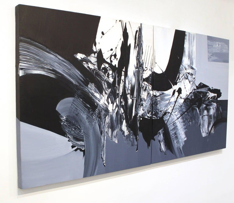 Revolves Around You (Diptych) - Large Scale Black and White Artwork - Blue Abstract Painting by Gail Titus