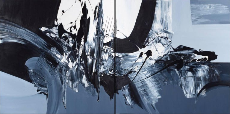 Gail Titus Abstract Painting - Revolves Around You (Diptych) - Large Scale Black and White Artwork