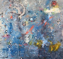 Snorkeling in Space - Large Oversized Original Mixed Media Painting