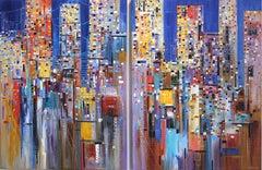 Dreamy Skyline - Large Original Oil Painting