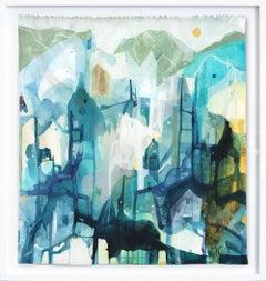 Blue House Family - Original Raw Canvas Artwork