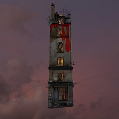 Red - digital color whimsical photograph of a Parisian flying house with monkey