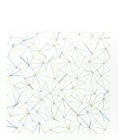 #52 - abstract geometric drawing on paper with thread and pencil