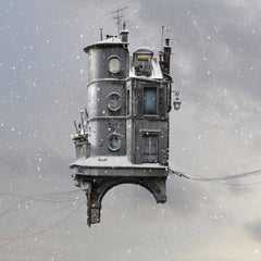 Missing street - Digital Color photograph of flying Parisian house with snow