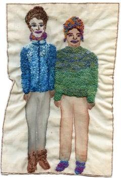 F Train Couple- narrative representational embroidery on fabric