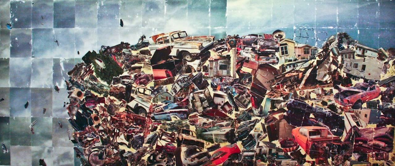 Detritus - Large suburban trash photo transfer on mylar