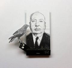 Alfred Hitchcock- black and white figurative portrait on matchbox