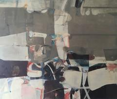 Large horizontal Soft Grey Contemporary Abstract Oil Painting - Sunday Service